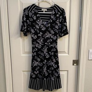 Monteau Petite Belted Mixed Print Dress